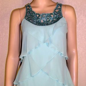 S.L Fashions NWT Beaded Laser Cut Neckline Dress